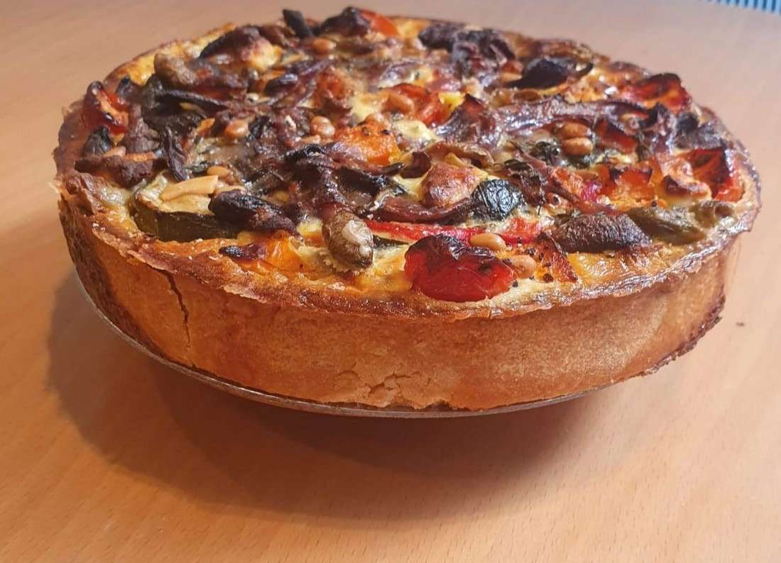 Roasted Veg with Goats Cheese Quiche